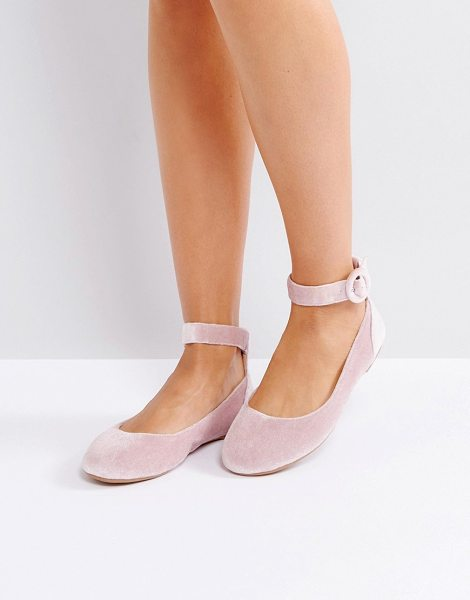 London Rebel Buckle Ankle Flat Ballerina Pumps in beige - Flat shoes by London Rebel, Textile upper, Ankle-strap...