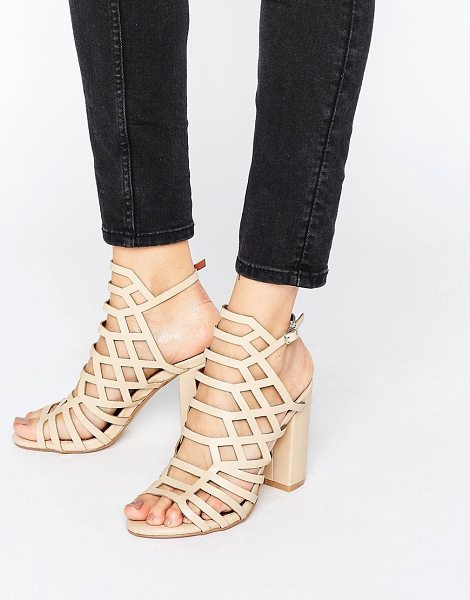 "London Rebel Caged Block Heel Sandal in beige - """"Shoes by London Rebel, Faux leather upper, Ankle-strap..."