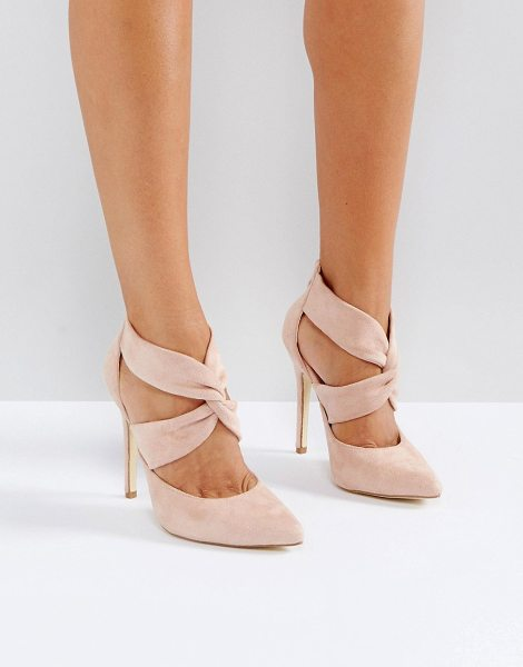 London Rebel cross over back zip point high heels in nudemicro - Shoes by London Rebel, Textile upper, Back zip opening,...