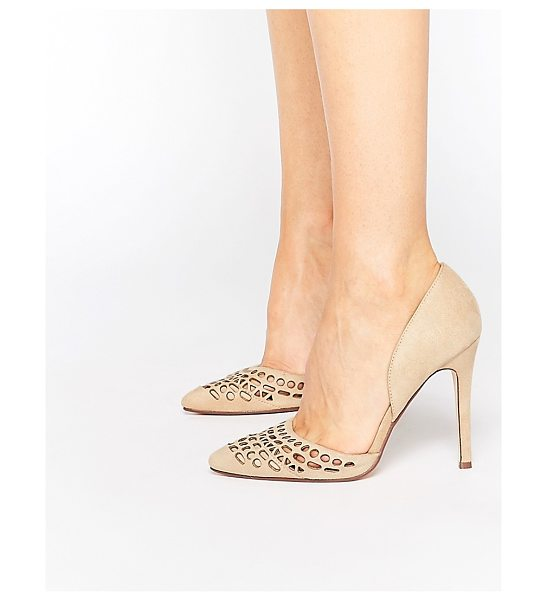 London Rebel Cut Out Pumps in beige - Shoes by London Rebel, Suede-look upper, Slip-on style,...