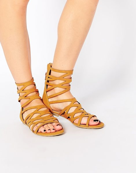 London Rebel Gladiator Flat Sandals in tan - Shoes by London Rebel, Leather-look upper, Gladiator...