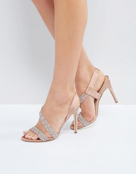 "London Rebel Glitter Ankle Strap Heeled Sandal in copper - """"Shoes by London Rebel, Textile upper, Ankle-strap..."