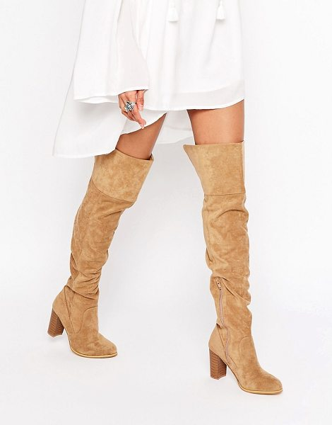 London Rebel Heeled Over The Knee Boots in beige - Shoes by London Rebel, Faux-suede upper, Over-the-knee...