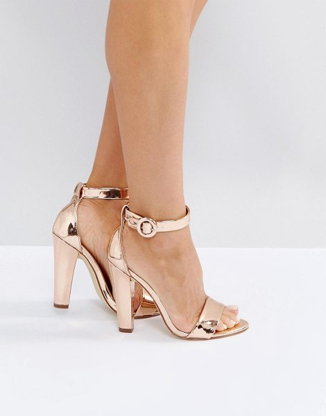 LONDON REBEL Metallic Heeled Sandals with Ankle Strap in copper - Shoes by London Rebel, Faux-leather upper, Metallic...