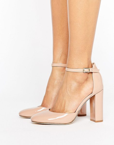 London Rebel Heeled Shoe with Detailed Ankle Straps in beige - Shoes by London Rebel, Faux-leather upper, Ankle-strap...