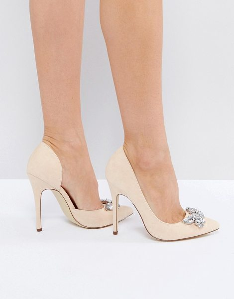 "London Rebel Jewel Trim Point High Heels in beige - """"Shoes by London Rebel, Faux-suede upper, Jewel style..."