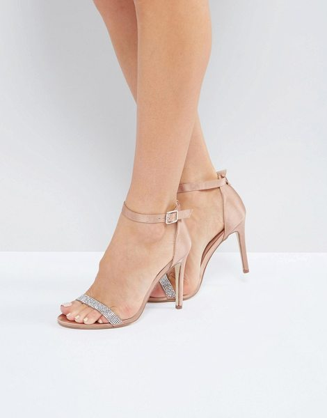 London Rebel Jewel Trim Satin Barely There Heel Sandal in beige