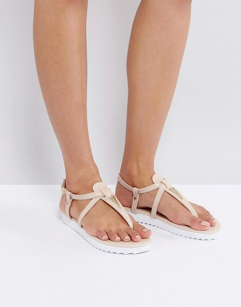 London Rebel Metal Trim ToePost Flat Sandal in beige