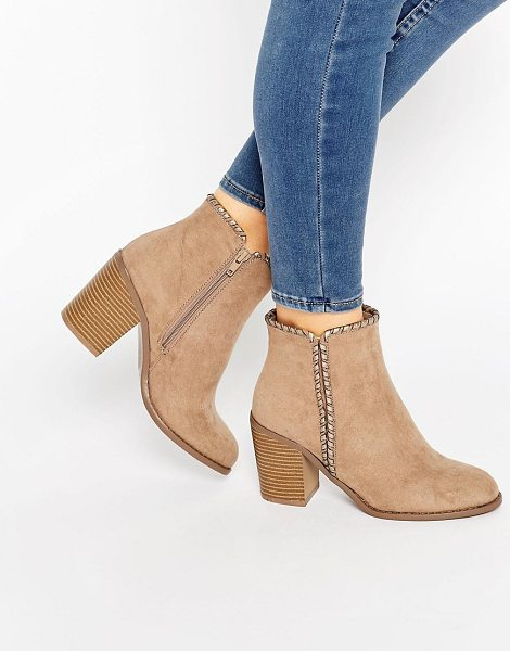 LONDON REBEL Mid Heeled Ankle Boots - B oots by London Rebel, Faux suede upper, Almond toe,...
