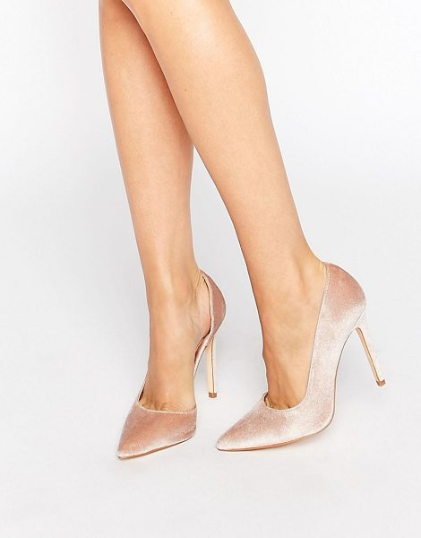 "London Rebel Open Waisted Velvet Pumps in beige - """"Shoes by London Rebel, Textile upper, Slip-on style,..."