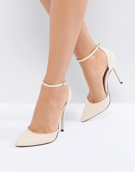 London Rebel point high heels in nudemicro - Shoes by London Rebel, Faux-suede upper, Ankle-strap...