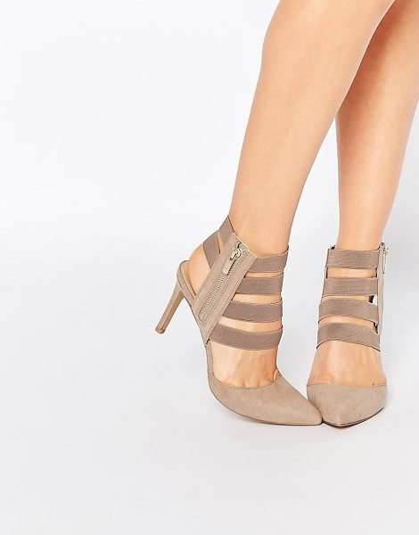 London Rebel Strappy heeled shoes in beige - Shoes by London Rebel, Suede-look upper, Elastic strap...