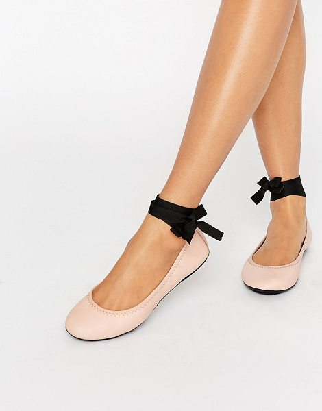 London Rebel Tie Up Leather Ballerina in beige - Shoes by London Rebel, Leather upper, Ribbon tie...