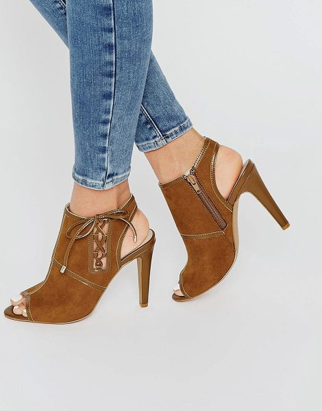London Rebel Tie Up Peeptoe Heeled Sandals in tan - Shoes by London Rebel, Faux-suede upper, Lace-up side,...