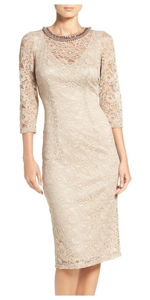 London Times embellished lace sheath dress in sand dollar - A glittery neckline glams up the sleek, smart silhouette...