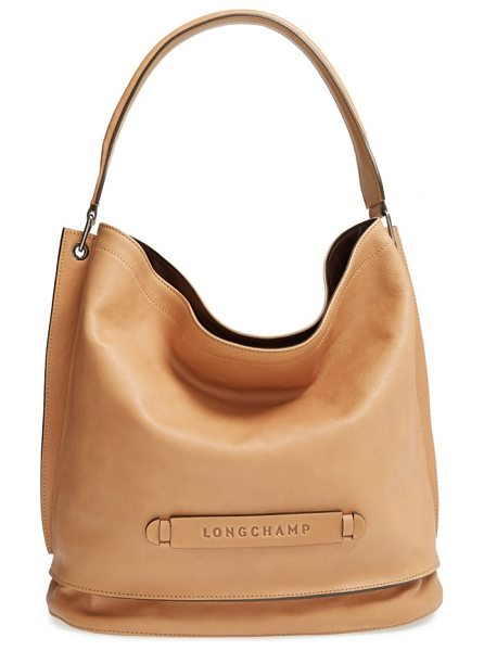 Longchamp 3d leather hobo in nude - A clean-lined hobo bag shaped from smooth, supple...
