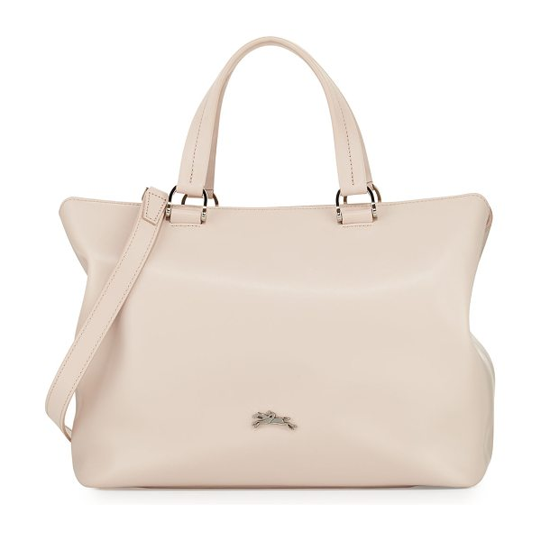Longchamp Honoré Medium Leather Tote Bag in neutral pattern - Longchamp smooth calfskin tote bag. Silvertone hardware....