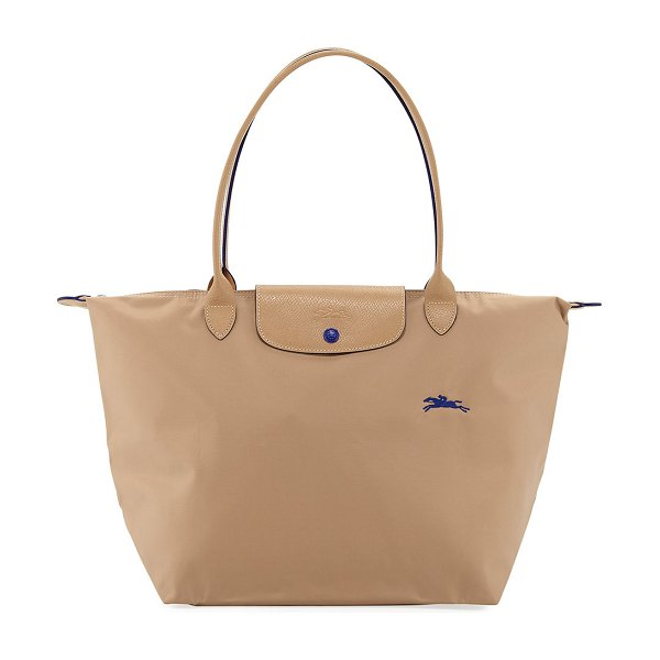 Longchamp Le Pliage Club Large Nylon Shoulder Tote Bag in beige - Longchamp tote in durable, lightweight nylon with racing...