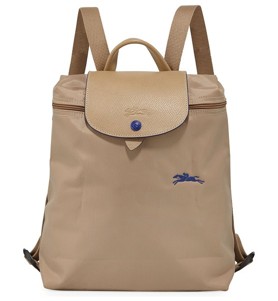 Longchamp Le Pliage Club Nylon Backpack in beige - Longchamp backpack in nylon/cotton canvas with embossed...