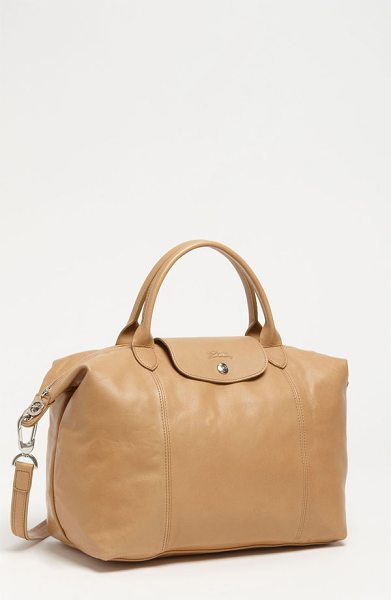 Longchamp Le pliage cuir leather handbag in natural - Silky leather upgrades a capacious top-handle tote...
