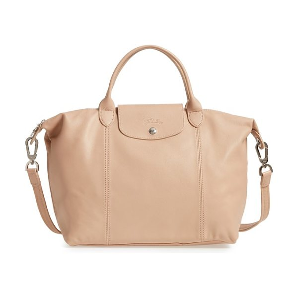 Longchamp medium 'le pliage cuir' leather top handle tote in gold beige - Silky leather upgrades a capacious top-handle tote...