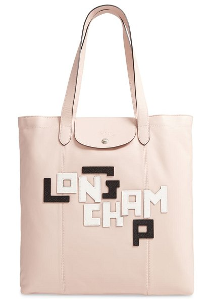 Longchamp le pliage cuir leather tote in pink