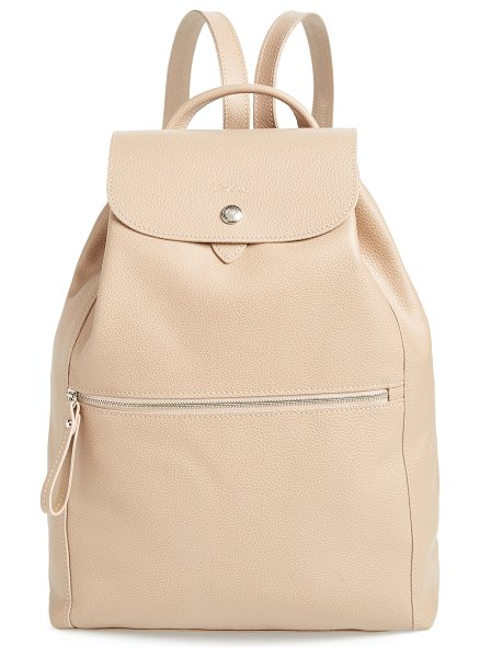 Longchamp leather backpack in beige