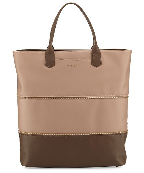 LONGCHAMP Longchamp 2.0 Expandable Tote Bag - Longchamp colorblock calf leather tote bag. Zip-around...