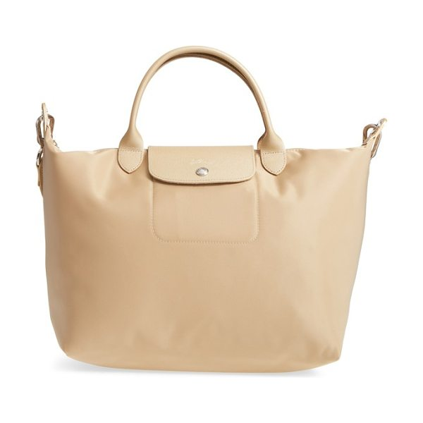Longchamp 'medium le pliage neo' nylon top handle tote in gold - Lightly textured leather borders a sleek, classic tote...