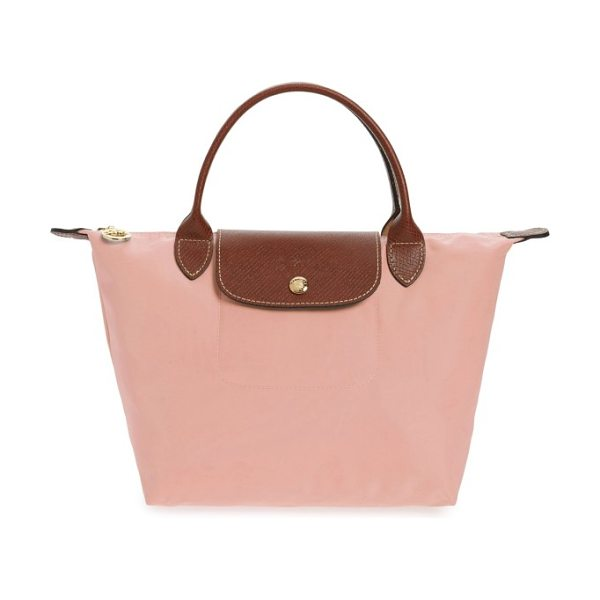 Longchamp 'small le pliage' top handle tote in pinky - Lightly textured leather borders a durable,...