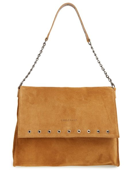 LONGCHAMP Paris rocks calfskin leather shoulder bag in bronze - A logo-stamped flap detailed with a row of polished...