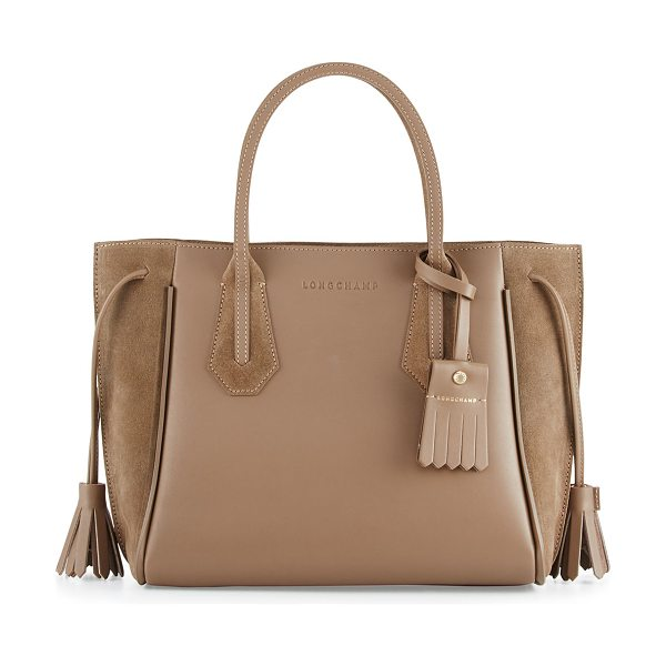 LONGCHAMP Penelope Small Leather & Suede Tote Bag - Longchamp smooth leather and suede tote bag. Rolled top...