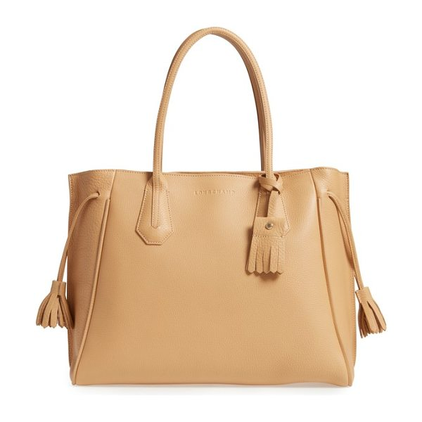 Longchamp 'penelope' tassel drawstring leather tote in natural - Born from a fusion of styles and Longchamp know-how, the...