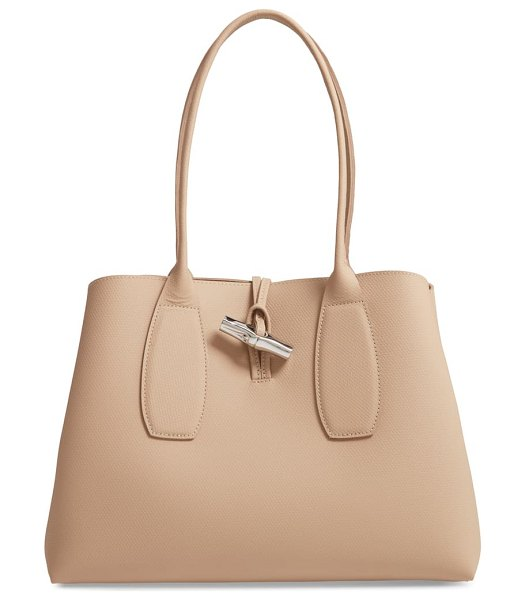 Longchamp roseau leather shoulder tote in brown