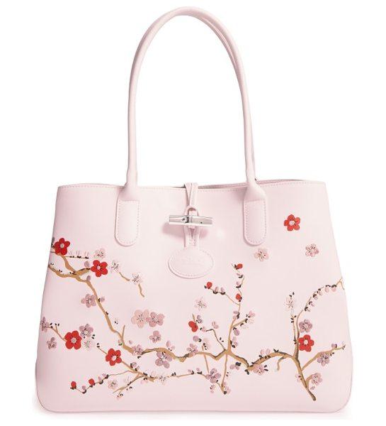 Longchamp roseau sakura embroidered leather shoulder tote in pinky - A delicate cherry-blossom print with embroidered accents...