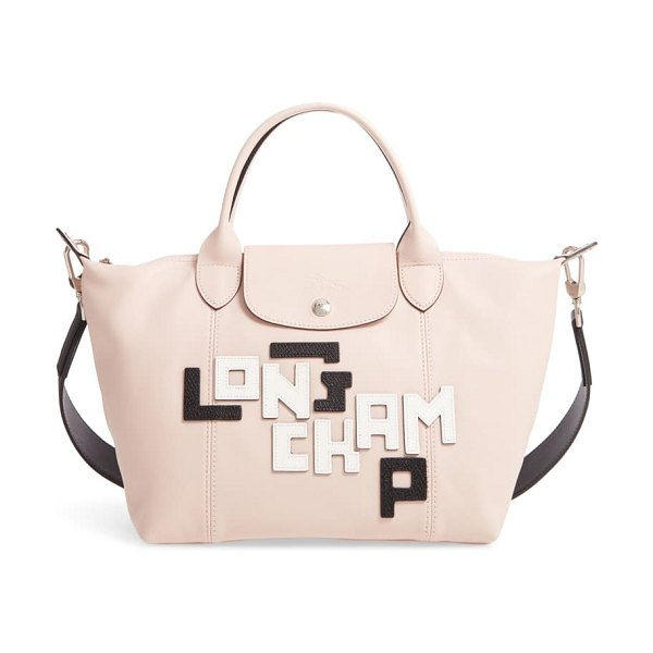 Longchamp small le pliage logo leather tote in pink