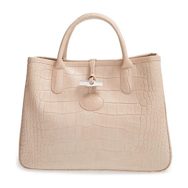 Longchamp Small roseau croco shoulder tote in powder pink - Lacquered croc-embossed leather lends eye-catching...