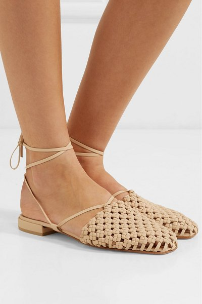 LOQ costa lace-up woven leather flats in beige