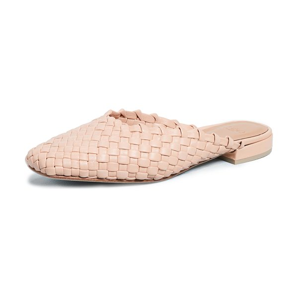 LOQ galia mules in nude - Leather: Cowhide Woven leather Mules Flat profile Box...