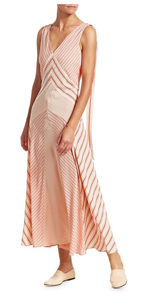 Loro Piana beatris silk striped flared tank dress in pink,38 (2) - Lightweight silk midi dress features a variegated stripe...