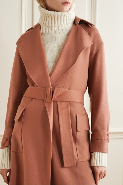 Loro Piana belted cashmere trench coat in antique rose