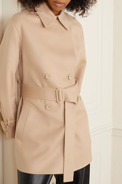 Loro Piana belted leather-trimmed cashmere jacket in antique rose