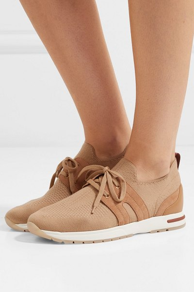 Loro Piana flexy lady cashmere, suede and leather sneakers in camel