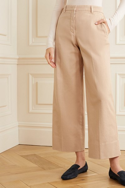 Loro Piana garry cotton-blend twill wide-leg pants in sand