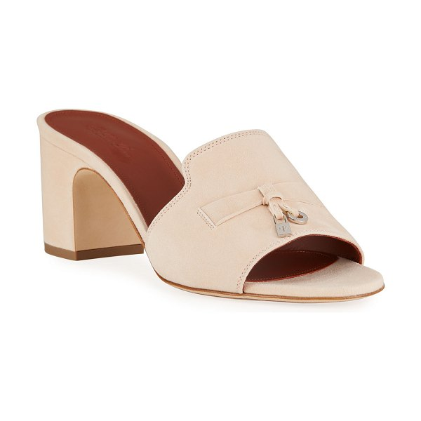 Loro Piana Suede Charm Slide Mules in pink sand