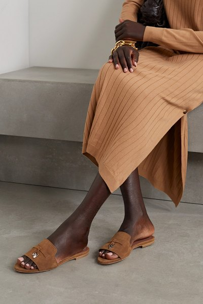 Loro Piana summer charms suede slides in tan