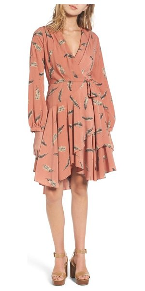 LOST AND WANDER lost + wander amber print wrap dress in coral - A gathered bodice and artfully draped skirt add to the...