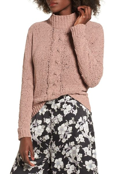 LOST AND WANDER jolie chenille sweater in mauve - A single cable runs down the front of this cozy chenille...
