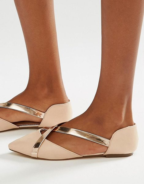 Lost Ink Beau nude metallic cross strap flat shoes in nude - Flat shoes by Lost Ink. Faux-leather upper Part leather...