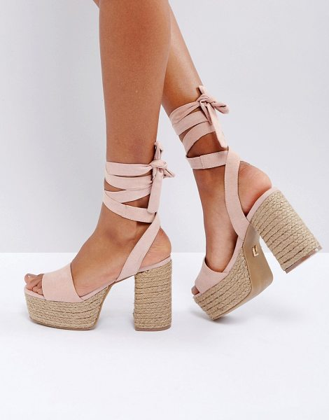 "Lost Ink Blush Platform Espadrille Heeled Sandals in pink - """"Sandals by Lost Ink, Textile upper, Tie fastening,..."